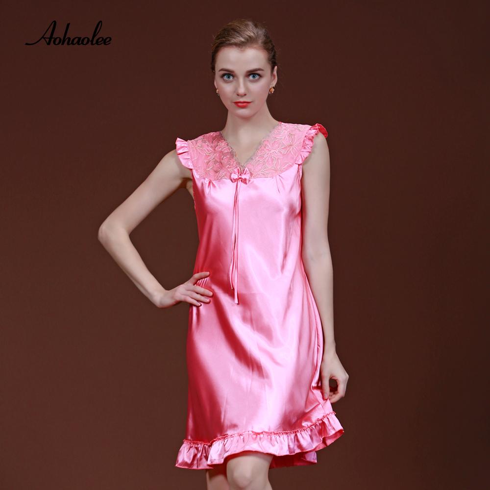 613e3e1cb2 2019 Ladies Sexy Silk Satin Nightwear Sleepshirts Home Night Gown ...