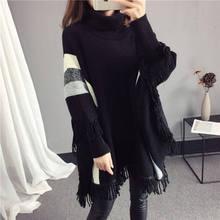 Suéter de cuello alto con borla y manga de murciélago para mujer 2018 otoño/invierno nuevo suéter de cuello alto para mujer suéter de punto Top 627(China)