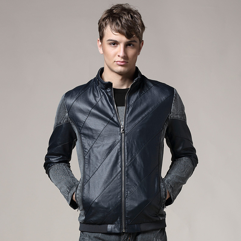 2015 Explosion Models Fight Skin Cowboy Leather Motorcycle Jacket Male Stand-up Collar Denim Jackets-Free Shipping(China (Mainland))