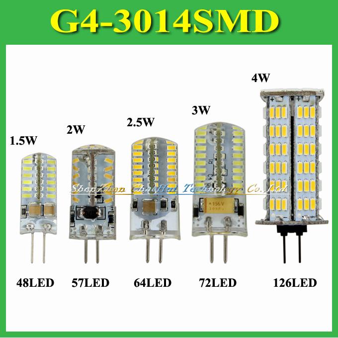 1Pc 1.5W 2W 2.5W 3W 4W G4 SMD 3014 LED Crystal Lamp Light DC 12V / AC 220V Silicone Body LED Bulb Chandelier 48 57 64 72 126 LED(China (Mainland))