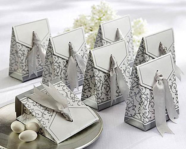 Free Shipping 100pcs Silver Ribbon Wedding favour box Party Candy Box Favor Gift Boxes wedding box