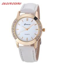 2016 Das Mulheres do Relógio de Genebra de Quartzo de Couro-Relógio Das Mulheres de Diamante de Cristal Rhinestone Relógios Vestido Beleza Relógio de Pulso Horas Reloj Mujer