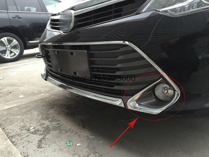 For Toyota Camry 2015 Front foglight fog lights lamp cover trim Chrome Plated  Moulding Trims 2pcs<br><br>Aliexpress