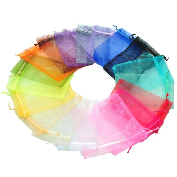 High Quality 200PCs 10x15cm Mixed Colors Organza Jewelry Gift Present X-mas Pouch Bags ,organza jewelry bags