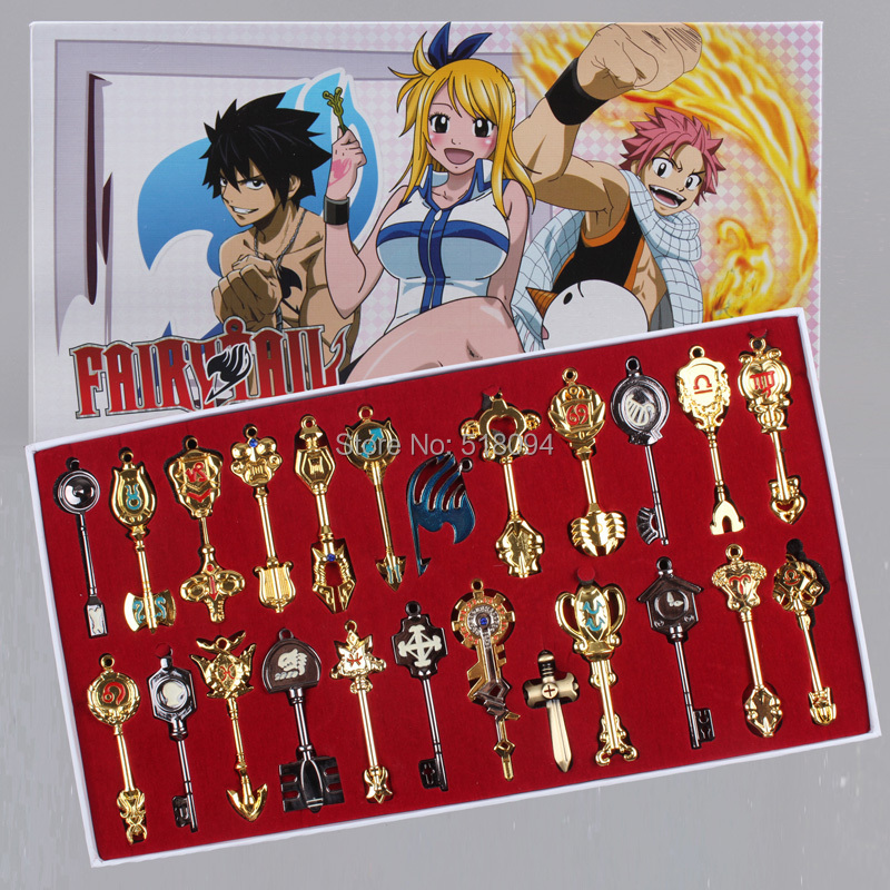 Гаджет  Cos Set Fairy Tail Lucy 24pcs/set Key Keychain Scale & Free Pink Tattoo Heartfilia sign of the zodiac Gold Key ANPD1647 None Игрушки и Хобби