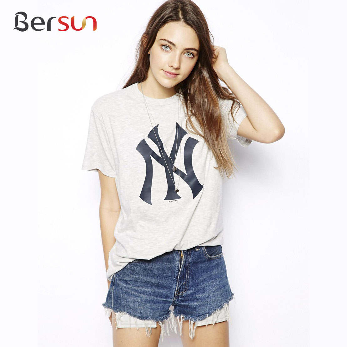 2015 Summer Style Fashion Women T Shirt Baseball Classic Tops Tee New York Letter Printing Loose