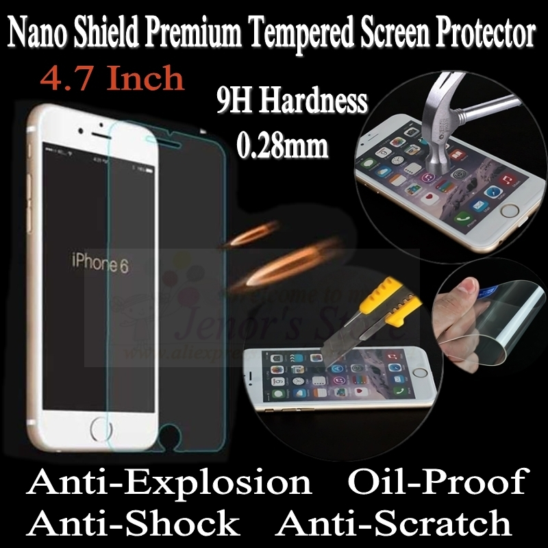Explosion Proof Screen Protective Film For iPhone 6 Nano Shield 9H Premium Tempered Glass Screen Protector 4.7 Inch, 100pcs/lot