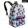 ONE2 Colored Drawing Cute Cat Design Print School Backpacks for College Shoulder Bag Great Christmas Gift
