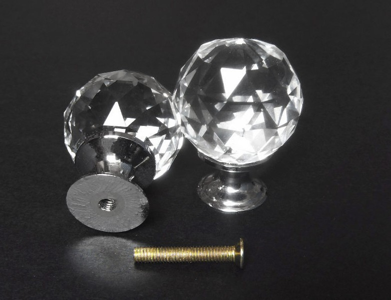 1 Pcs 30mm Crystal Glass Clear Cabinet Knob Drawer Pull Handle Furniture Hardware Come With Screws Free Shipping(China (Mainland))