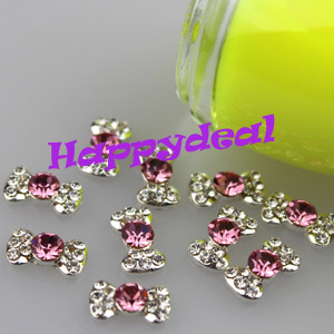 Free Shipping Wholesale Price 10pcs/pack 3D Sliver Plated Pink Bow Tie Nail Art Alloy Slices DIY Nails Rhinestone Decorations(China (Mainland))