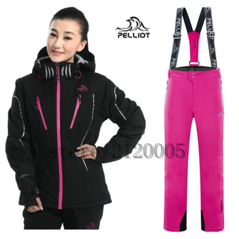 Famous Brand Pelliot Women's Ski Suit Ski Jacket + Pant High Quality Waterproof Windproof Breathable Snowboard Jacket for Women(China (Mainland))