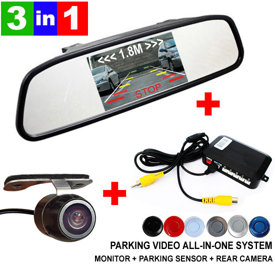 3 in1 Dual Core Auto Video Parking Sensor Assistance Monitor Radar System + Rear View Camera + 4.3 inch LCD Car Mirror Monitor(China (Mainland))
