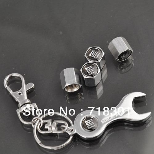 Free shipping Car Logo emblem Tire Valve Caps 4pcs With Wrench key chain for FIAT Accessories Tire Valve Stem Caps