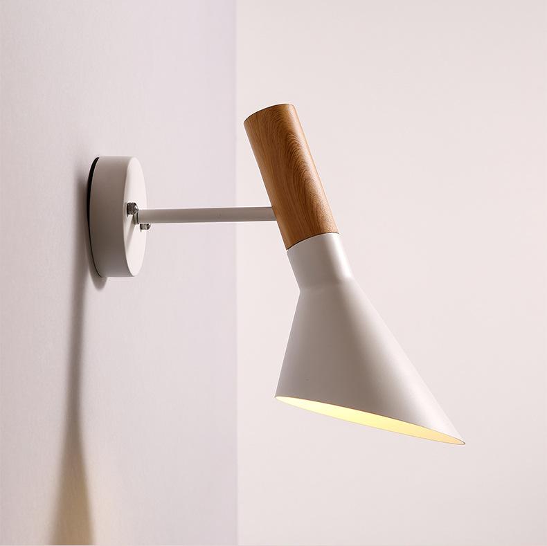 ... Houten Wandkandelaar E27 Slaapkamer Verlichting Zwart/Wit Nachtkastje