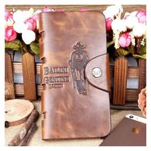 Special Promotion long bailini New  Men's Vintage Wallet Fine Bifold Brown Genuine Leather & Pu Bailini Purse Wallets For Men