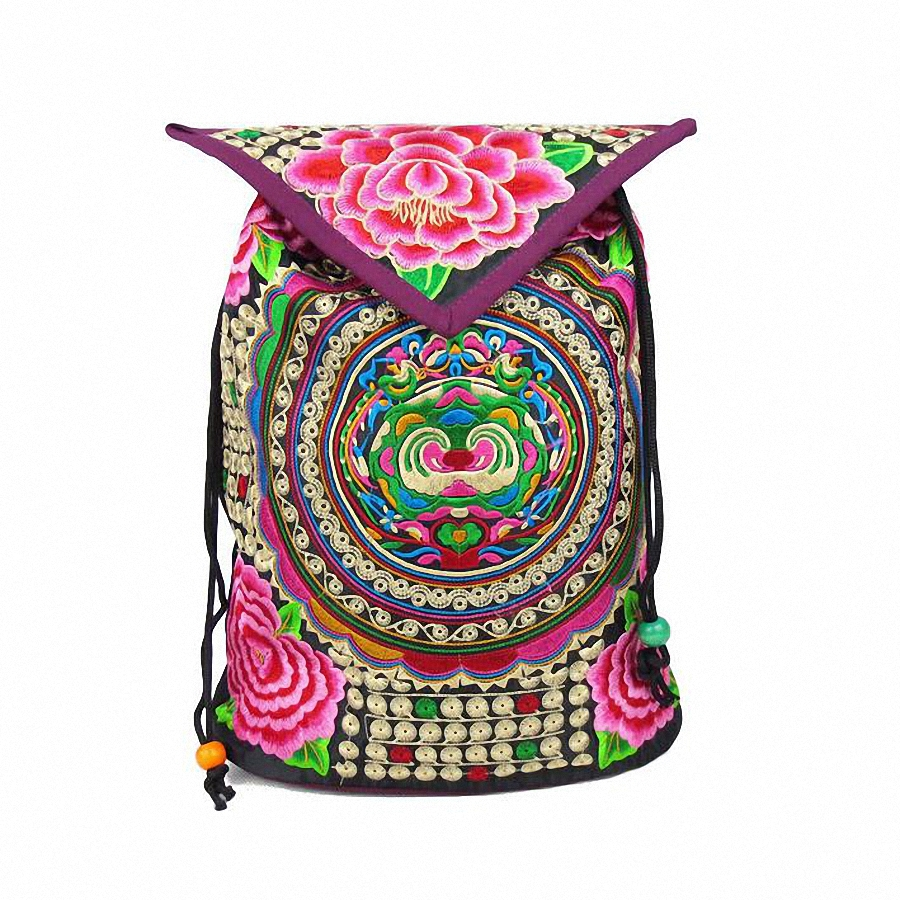 National trend embroidery Ethnic backpack women handmade canvas Embroidered Bag Travel Bags school bag backpacks mochila  LI-474