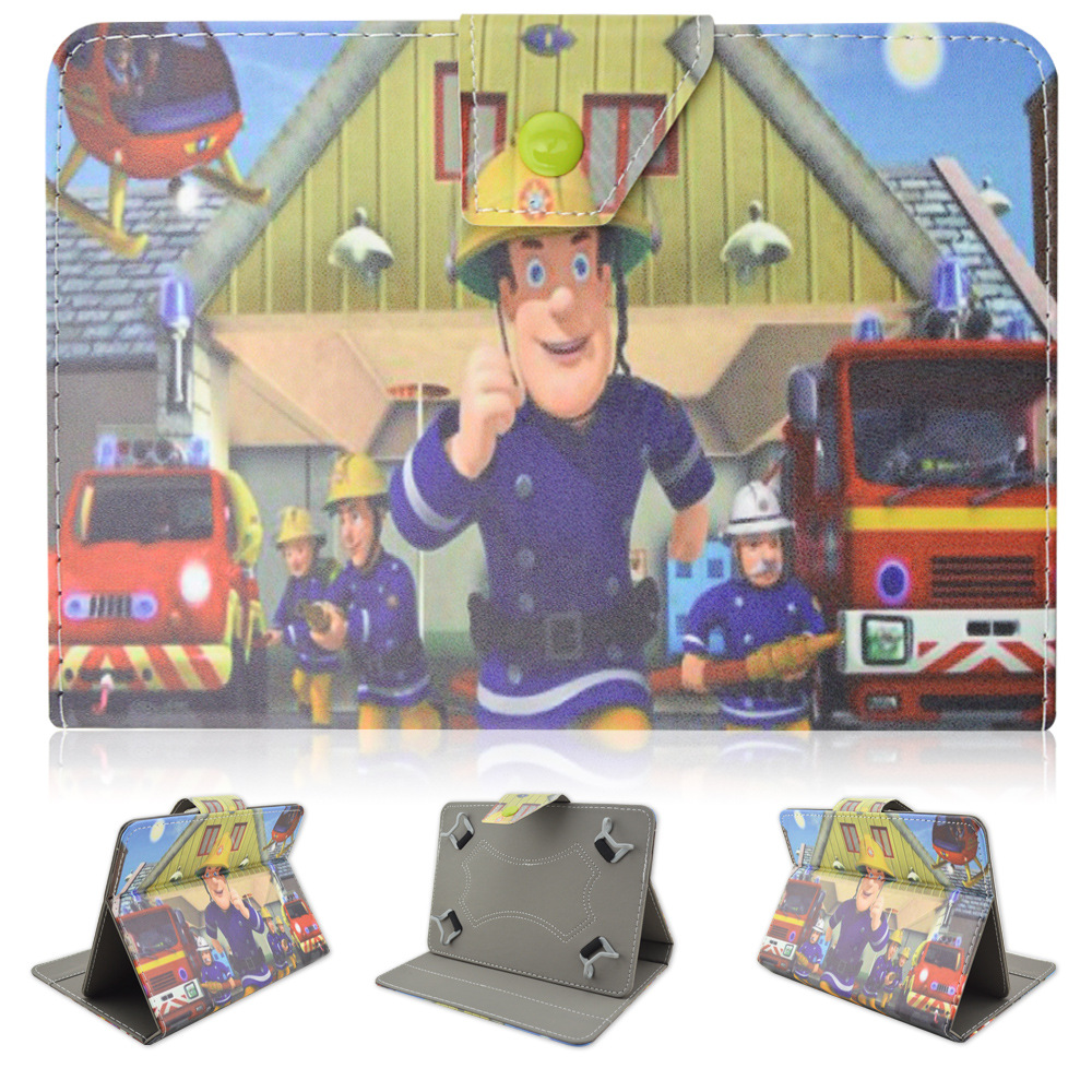 """2016 New Children Fireman Sam Kids Boys Girls Gift Stand PU Leather Case Cover for 7"""" Google Android 4.4 Tablet PC Children Gift(China (Mainland))"""