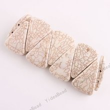 2PCS Health Care white  Turquoise Charms Bracelets Triangle Stone CHAINS Beads Have stock 111062(China (Mainland))