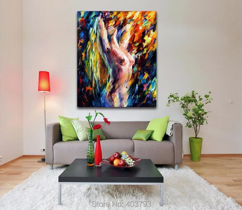 Buy New Arrival Christmas Gift Sexy Naked Woman Nude Painting Body Art Palette Knife Hand Painted Abstract Painting Home Decor cheap