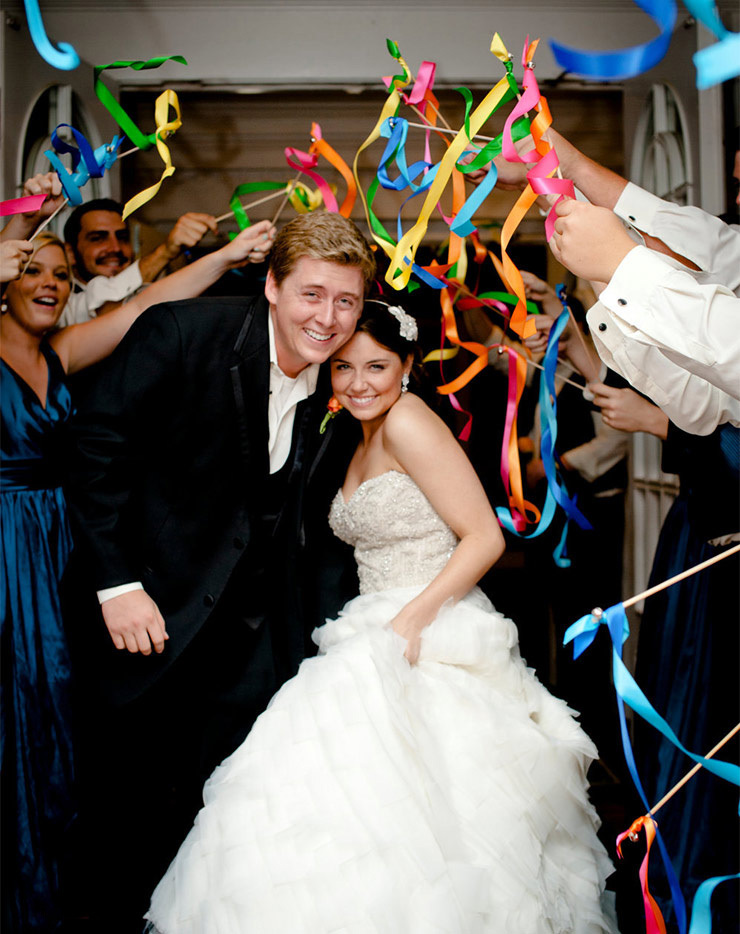 (50Pieces/Lot) DIY Personalized Wedding Ribbon Stick Wands Twirling Streamers With Bell photo booth props