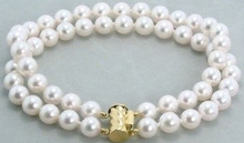 REAL VERY NATURAL 2ROW 9-10MM AKOYA WHITE PEARL BRACELET 14K SOLID GOLD MARKED 2pcs Wholesale Silver bridal Woman's Jewellery(China (Mainland))