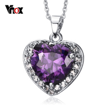 Vnox Heart of The Ocean Necklace Crystal Women Girl Jewelry Purple Crystal With 20inch Chain(China (Mainland))