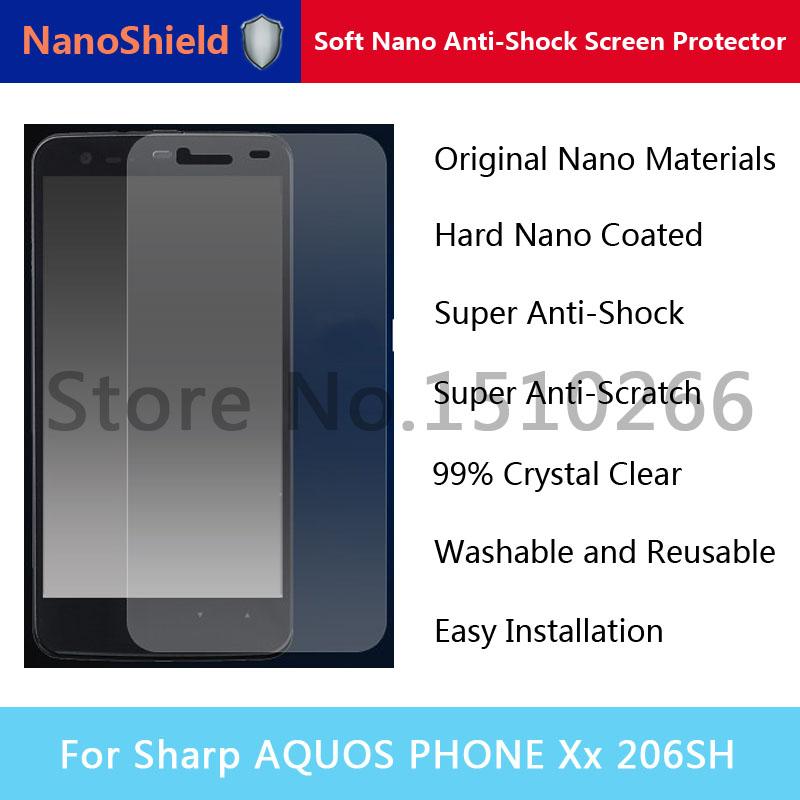 NanoShield Soft Nano Anti-Shock Screen Protector Mobile Phone Protective Film For Sharp AQUOS PHONE Xx 206SH Retail Package(China (Mainland))