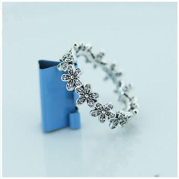 Compatible con Pandora joyería de la margarita anillos de plata con Zirconia del nuevo 925 anillo de plata esterlina de la joyería DIY venta al por mayor