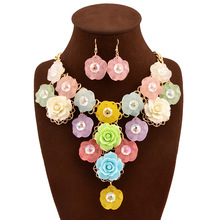 super big flowers crystal gem stone handmade knitted short choker necklace party wedding decoration flowers multi color(China (Mainland))