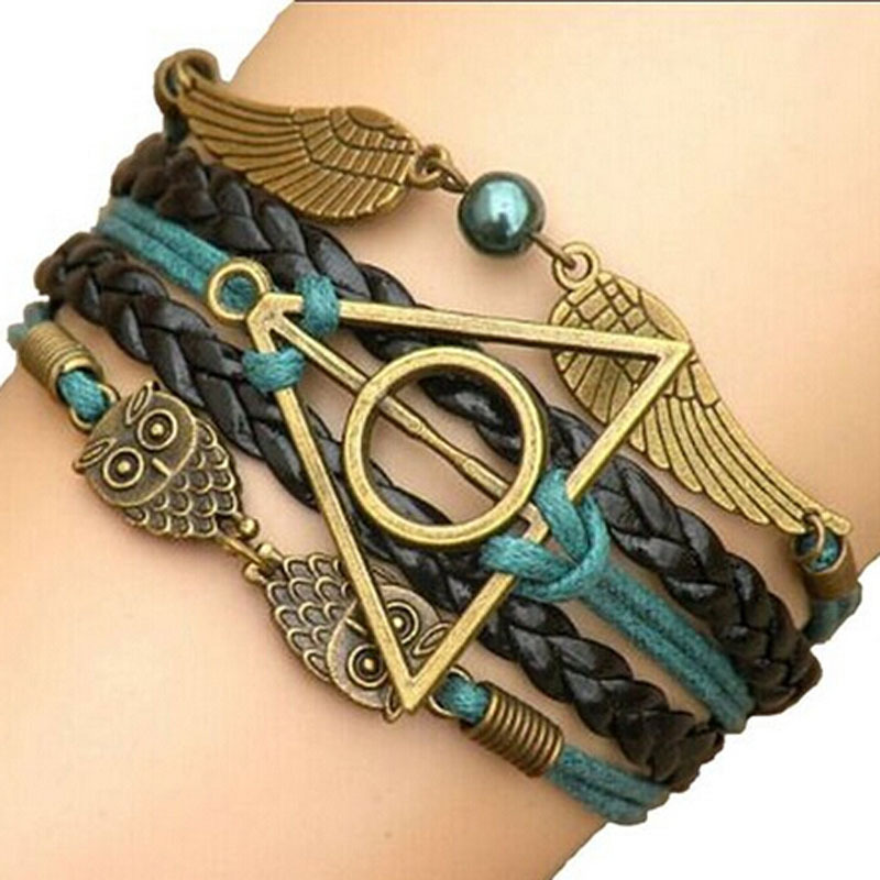2015 multilayer braided bracelets vintage owl harry. Black Bedroom Furniture Sets. Home Design Ideas