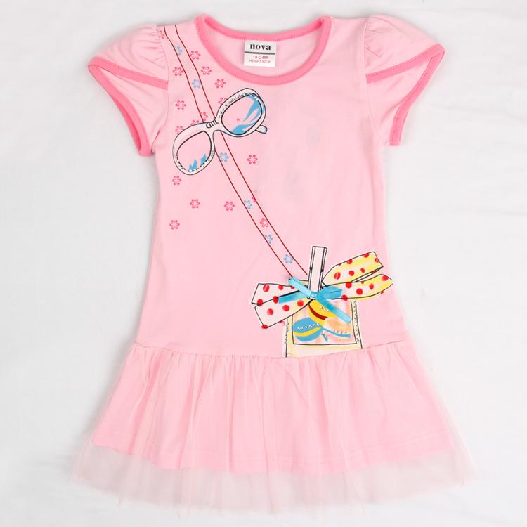 Nova kids wear 2015 new novely design pink short sleeve girl dressesdress summer fashion kids dress<br><br>Aliexpress