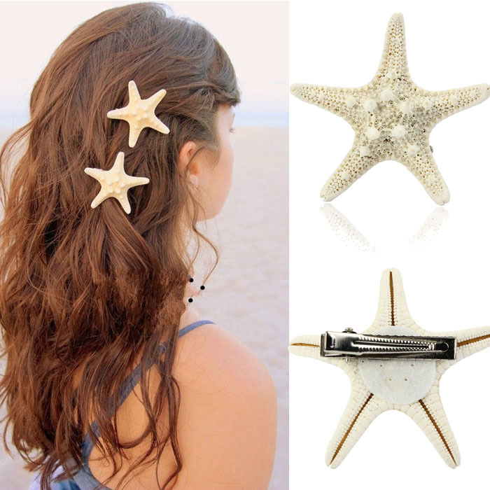 2015 Direct Selling New Arrival Adult Baby Accessories Trustworthy Europe Women Lady Pretty Natural Starfish Star Hair Clip(China (Mainland))