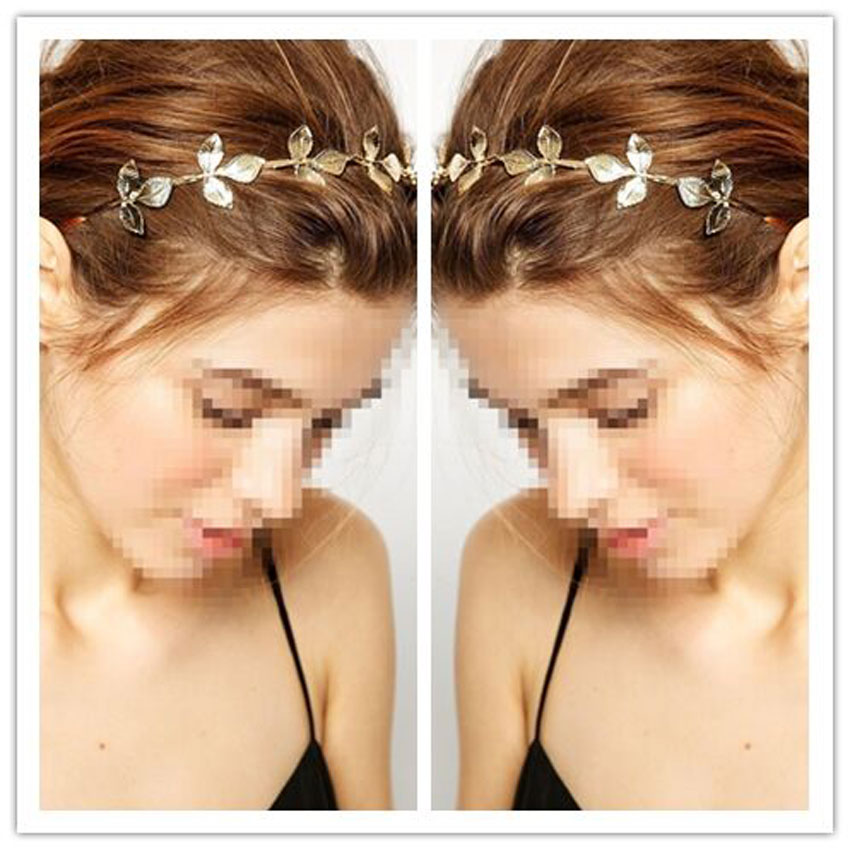 Gold Leaf Crown Festival Headband Wedding Garland Floral Hairband Accessories