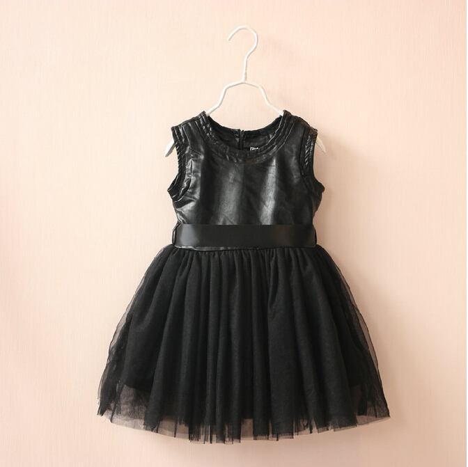 SIZE1396256 Wholesale 2015 New Fashion Girls Dresses Solid Leather Patchwork Appliques TUTU Dress Girls Formal Dresses Supplier <br><br>Aliexpress