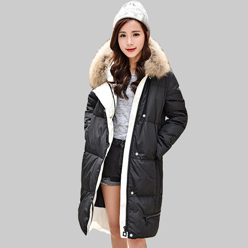 2016 Fashion Hooded Nagymaros Collar Winter White Duck Down Jacket Slim Thicken Long Section Korean Winter Down Coat Women DQ795