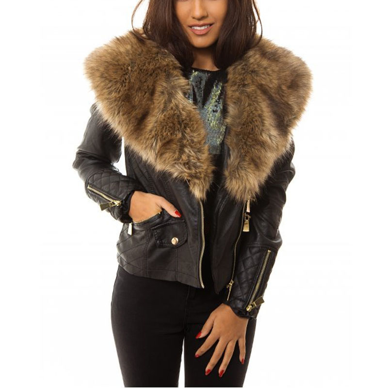 Womens Leather Jacket With Fur Hood