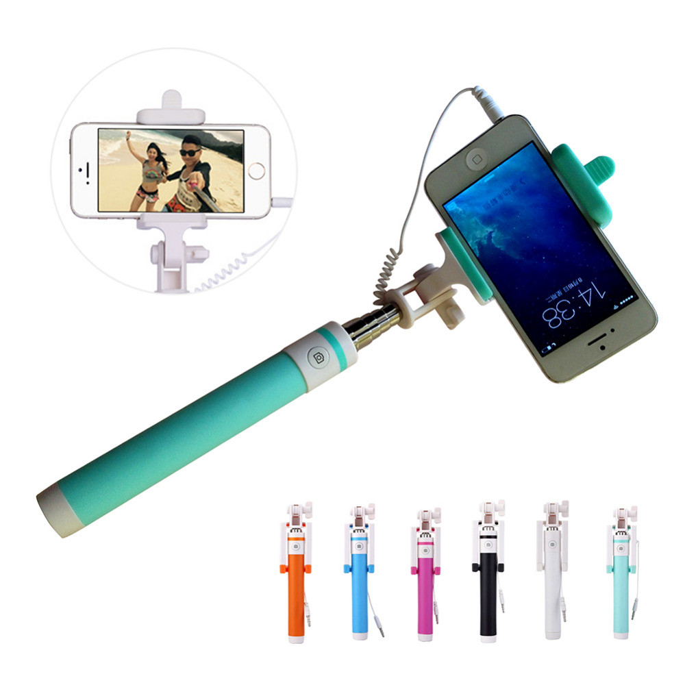 2016 New Mini Extendable handheld monopod selfie stick For iPhone Samsung HTC SONY Nokia LG Free Ship Black<br><br>Aliexpress