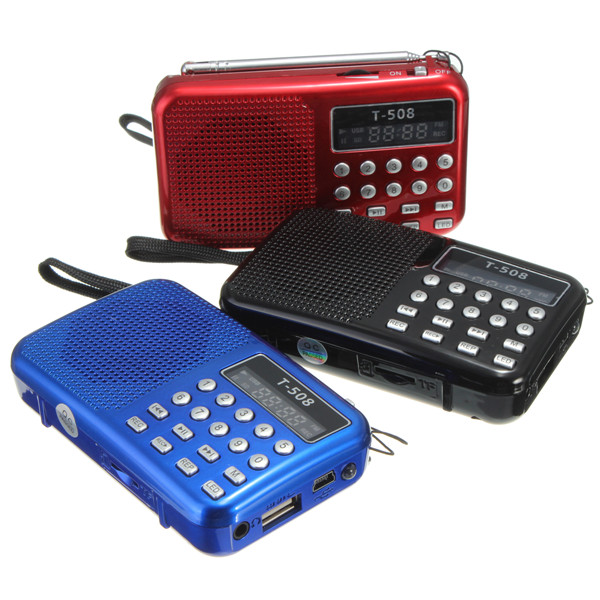 Mini Portable dual band Rechargeable Digital LED display panel Stereo FM Radio Speaker USB TF mirco for SD Card MP3 Music Player(China (Mainland))