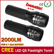 Hot Selling CREE Q5 Cree LED Torch Zoom Cree Led Flashlight Torch Light 3xAAA Battery 3 Mode LED Zoom Flashlight(China (Mainland))