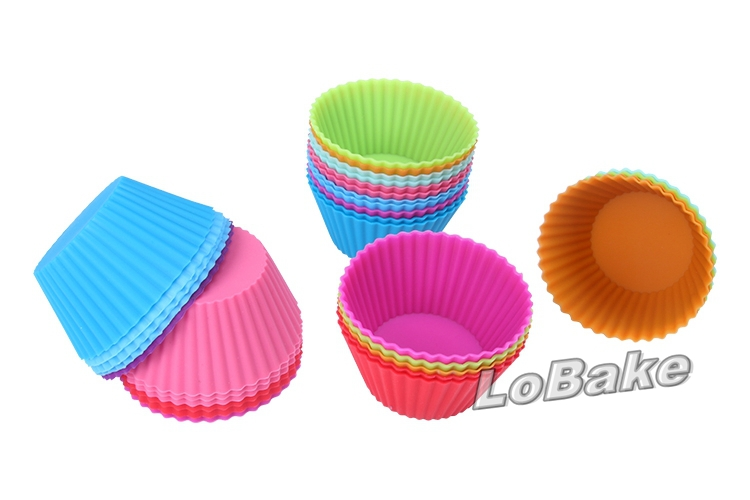 60pcs/lot Soft Round Silicone fondant cupcake muffin cookie Mold Chocolate mould cupcake liners Baking Cup Random Colors(China (Mainland))