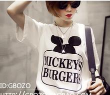 Galaxy Mickey Print Women Tshirt Cotton Harajuku Casual Mouse Shirt White Top Tees Big Size Free Shipping(China (Mainland))