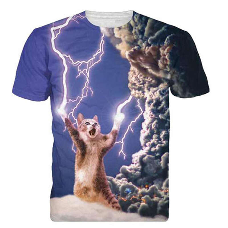 Thunder Cat Design 3D T Summer Style Mens T Shirts Fashion 2015 Slim Fit Hip Hop Funny T Shirts(China (Mainland))