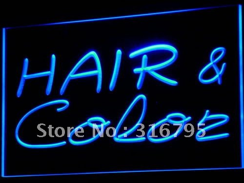 i564-b Hair & Color Salon Cutting Shop LED Neon Light Sign wholeselling Dropshipper(China (Mainland))