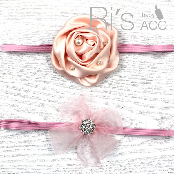 Retail pink flower hairband rose hair girl hairband set Photography Prop Newborn Headband(China (Mainland))