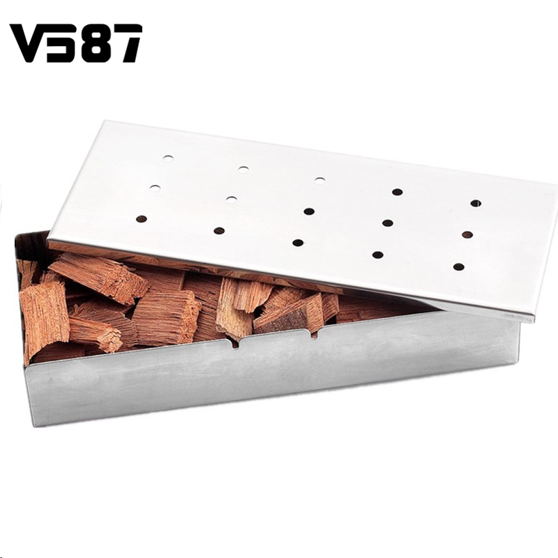 Stainless Steel BBQ Gas Grill Smoker Box With Lip Durable Home Garden Outdoor Flavor Wood Chips Barbecue Tool Accessories(China (Mainland))