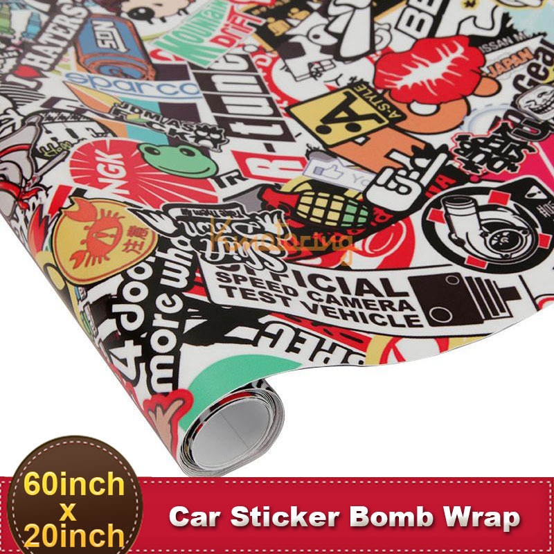 60''x20'' Car Bomb Wrap Sticker PVC Funny Cartoon 150x50cm Bubble Free Auto DIY Decal Sheet Motorcycle Phone Laptop Wall Sticker(China (Mainland))