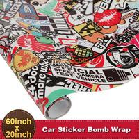 60''x20'' Car Bomb Wrap Sticker PVC Funny Cartoon 150x50cm Bubble Free Auto DIY Decal Sheet Motorcycle Phone Laptop Wall Sticker