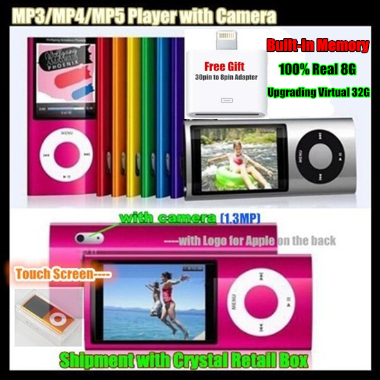 """5th Built-in 8GB Memory (Virtual 32G) 2.2"""" LCD ScreenSport MP3/MP5 HD Player FM Video+Camera,LOGO for iPod,with Crystal Box(China (Mainland))"""