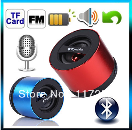 Free Shipping Myvision Bluetooth 3.0 Speaker stereo with MIC FM/TF Card Function for speakers portable MP3 MP4 cellphone Red(China (Mainland))
