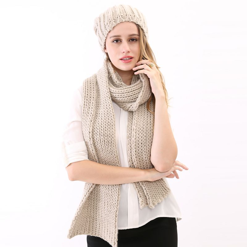 2015 Christmas Gift Fall Unisex Mens Solid Color Gray Shag Line Crocheting Warm Basic Winter Thick Hat and Scarf Set for Women(China (Mainland))